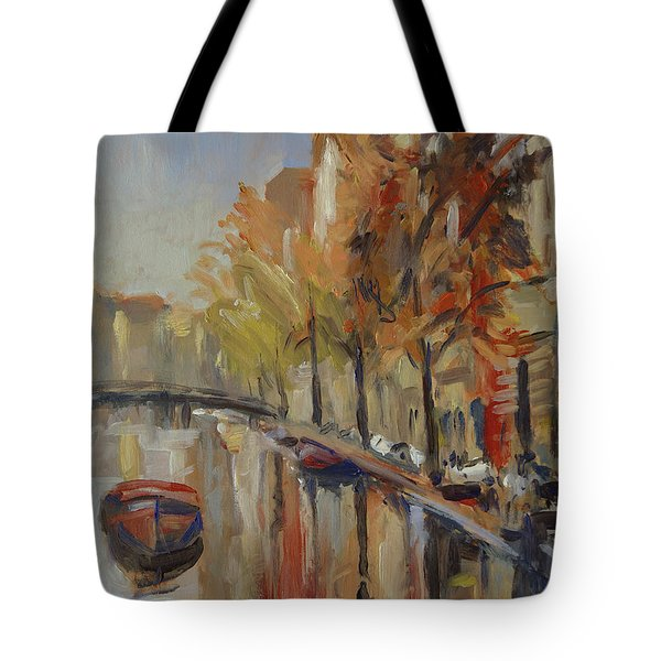 Amsterdam Autumn With Boat Tote Bag