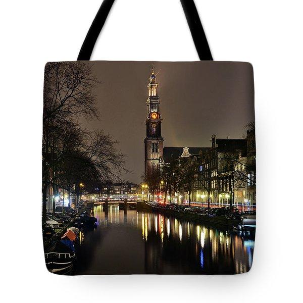 Amsterdam By Night - Prinsengracht Tote Bag