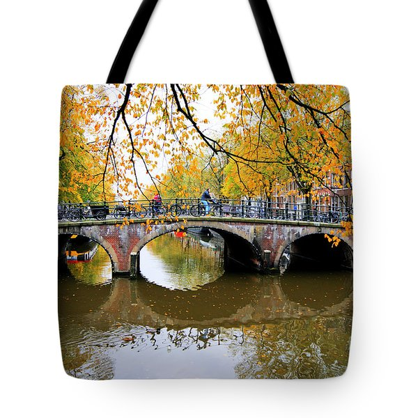 Tote Bag featuring the photograph Amsterdam Canal Reflections by David Birchall