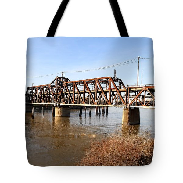 Amtrak California Crossing The Old Sacramento Southern Pacific Train Bridge . 7d11674 Tote Bag by Wingsdomain Art and Photography
