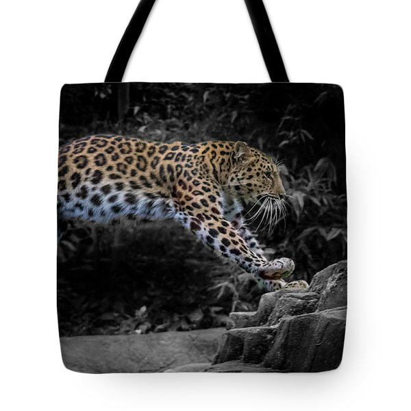 Amur Leopard On The Hunt Tote Bag by Martin Newman