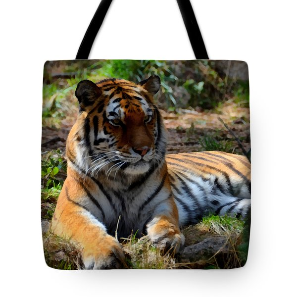 Tote Bag featuring the mixed media Amur Tiger 1 by Angelina Vick