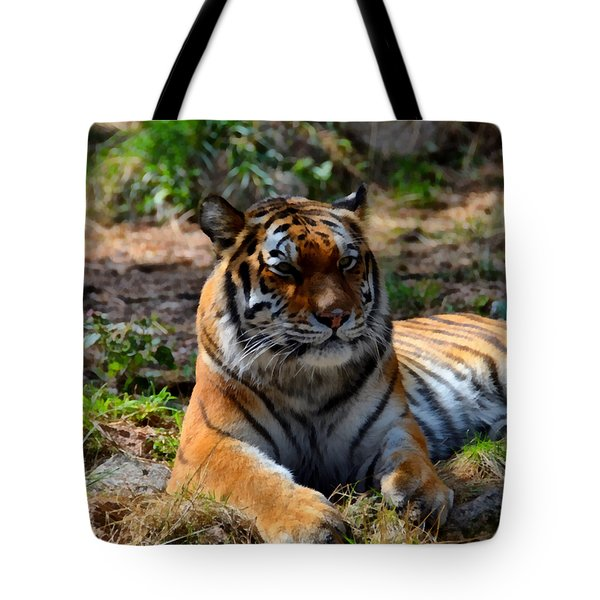 Tote Bag featuring the mixed media Amur Tiger 10 by Angelina Vick