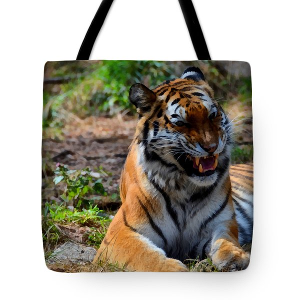 Tote Bag featuring the mixed media Amur Tiger 3 by Angelina Vick