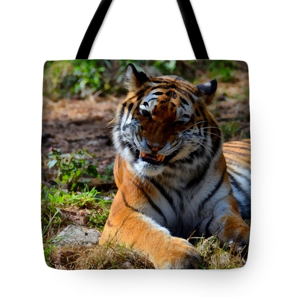 Tote Bag featuring the mixed media Amur Tiger 4 by Angelina Vick