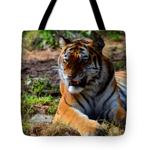 Tote Bag featuring the mixed media Amur Tiger 5 by Angelina Vick
