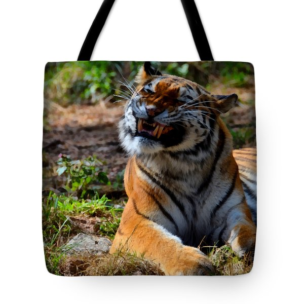 Tote Bag featuring the mixed media Amur Tiger 6 by Angelina Vick