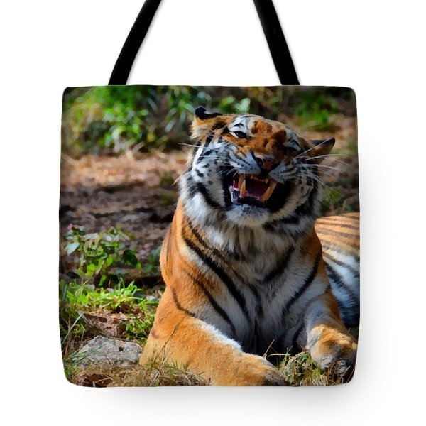 Tote Bag featuring the mixed media Amur Tiger 7 by Angelina Vick