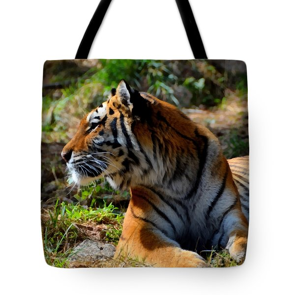Tote Bag featuring the mixed media Amur Tiger 9 by Angelina Vick