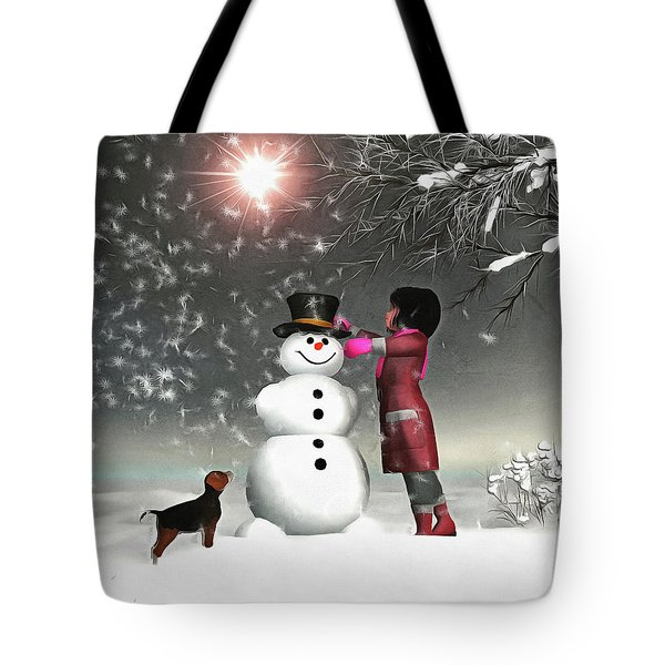Amy And Buddy Building A Snowman Tote Bag