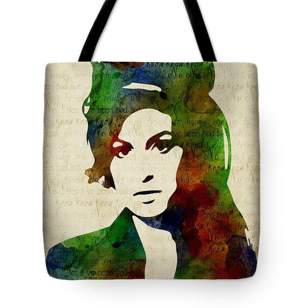 Amy Winehouse Watercolor Tote Bag