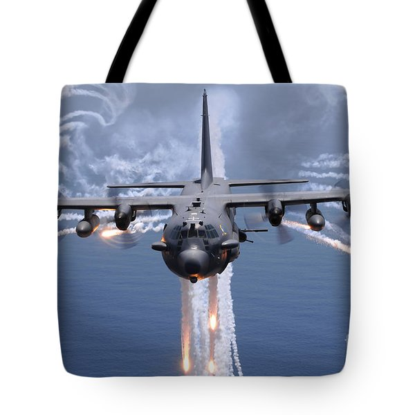An Ac-130h Gunship Aircraft Jettisons Tote Bag