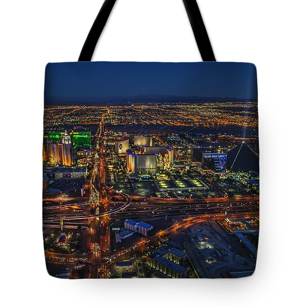 An Aerial View Of The Las Vegas Strip Tote Bag
