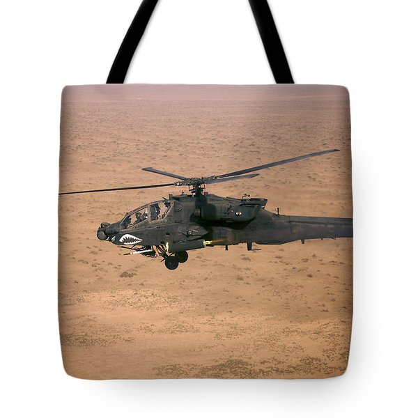 An Ah-64d Apache Longbow Fires A Hydra Tote Bag by Terry Moore
