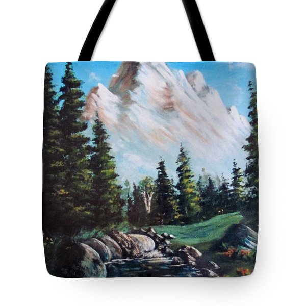 An Alpine Stream Tote Bag by Megan Walsh