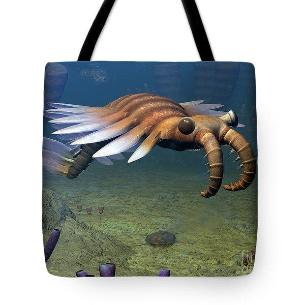 An Anomalocaris Explores A Middle Tote Bag by Walter Myers