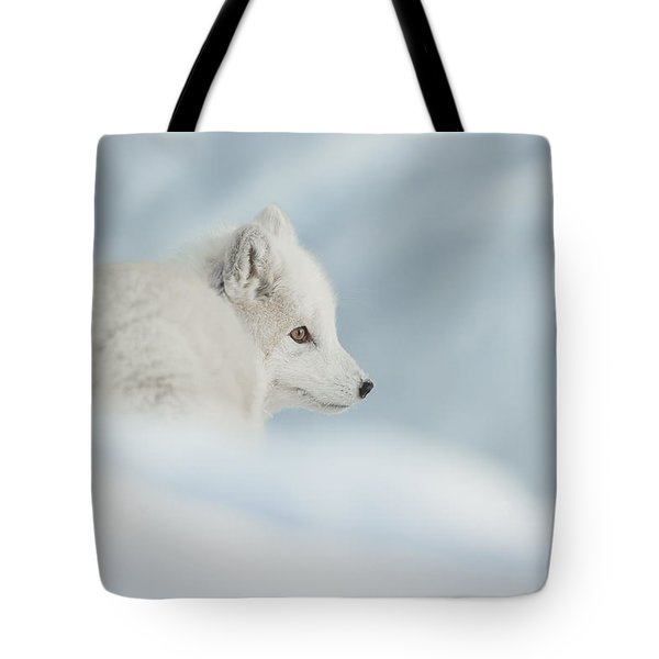 An Arctic Fox In Snow. Tote Bag