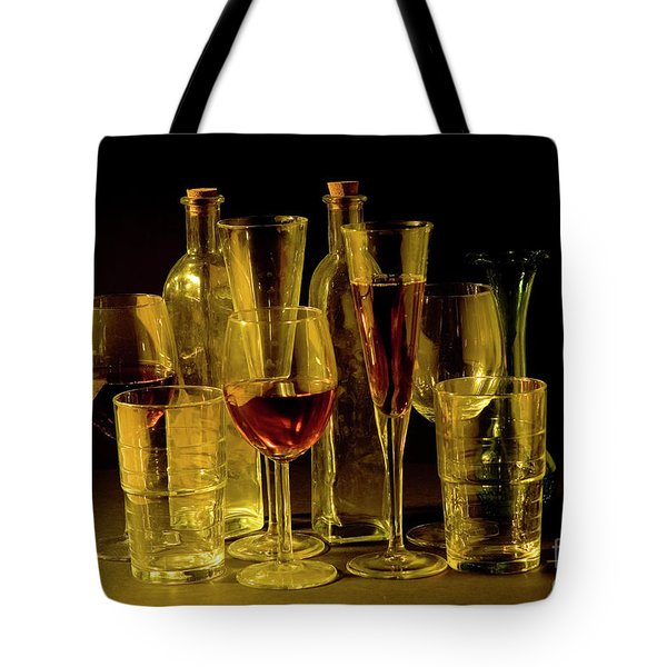 An Assortment Of Full Cocktail And Wine Glasses Tote Bag