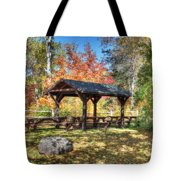 Tote Bag featuring the photograph An Autumn Picnic In Maine by Shelley Neff