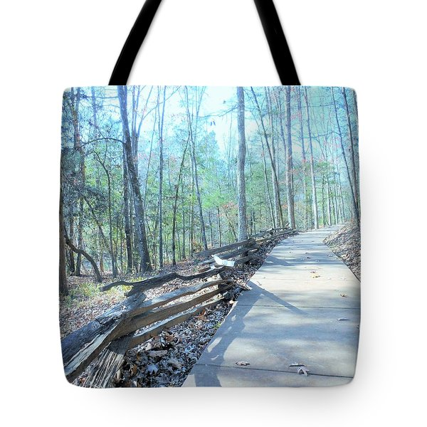An Autumn Walk In The Woods Tote Bag by Kay Gilley