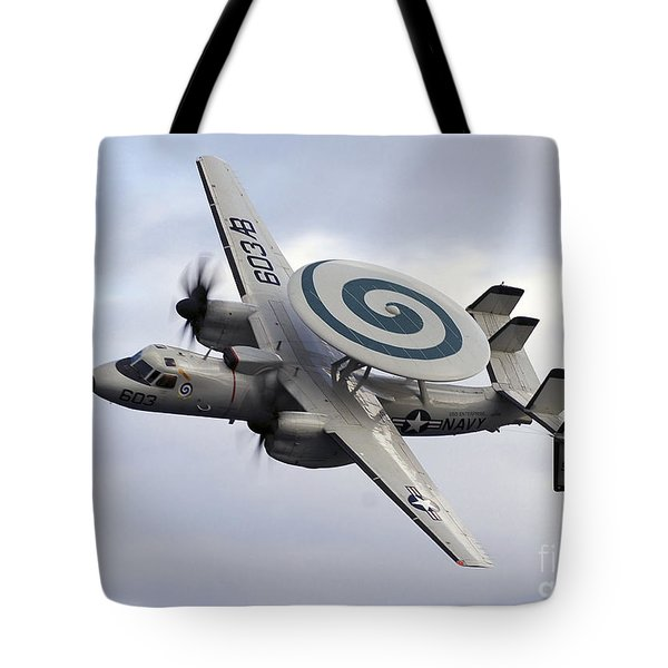 An E-2c Hawkeye Performs A Fly-by Tote Bag by Stocktrek Images