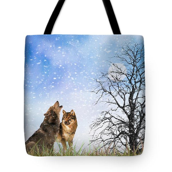 An Early Winter Howl Tote Bag by Diane Schuster