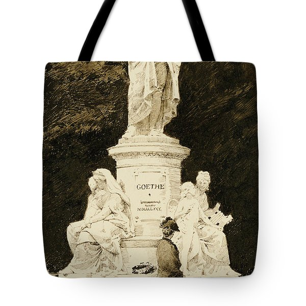 An Elegant Lady At The Statue Of Goethe Tote Bag