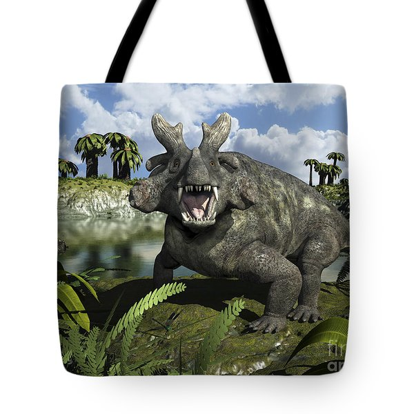 An Estemmenosuchus Mirabilis Stands Tote Bag by Walter Myers