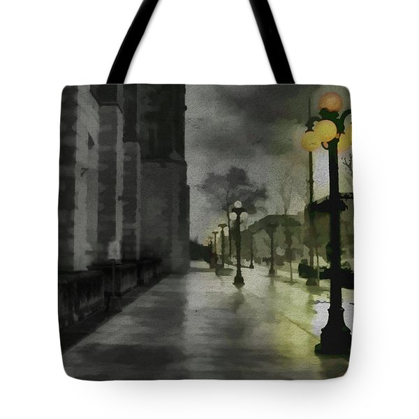 Tote Bag featuring the mixed media An Evening In Paris by Jim  Hatch