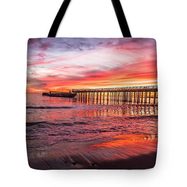 Tote Bag featuring the photograph Seacliff Sunset by Lora Lee Chapman