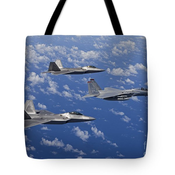 An F-15 Eagle And Two F-22 Raptors Fly Tote Bag by HIGH-G Productions