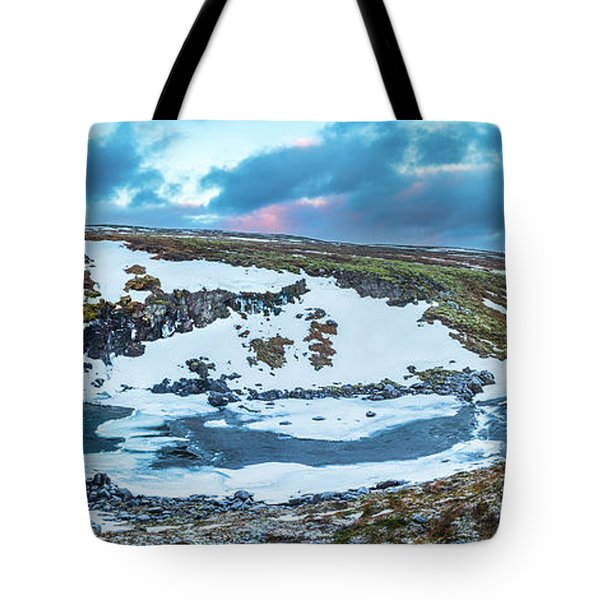 An Icy Waterfall Panorama During Sunrise In Iceland Tote Bag