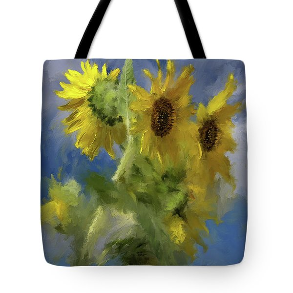 Tote Bag featuring the photograph An Impression Of Sunflowers In The Sun by Lois Bryan