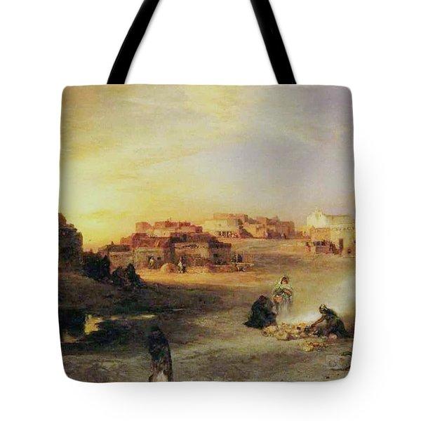 An Indian Pueblo Tote Bag by Thomas Moran