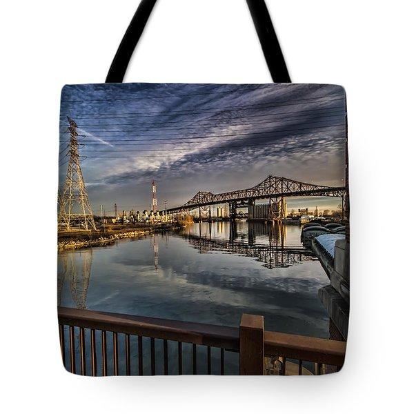 an Industrial river scene Tote Bag