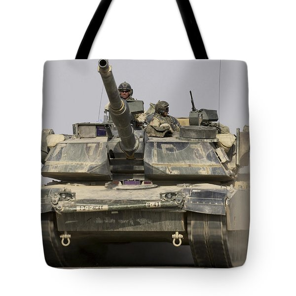 An M1a1 Abrams Tank Heading Tote Bag by Stocktrek Images