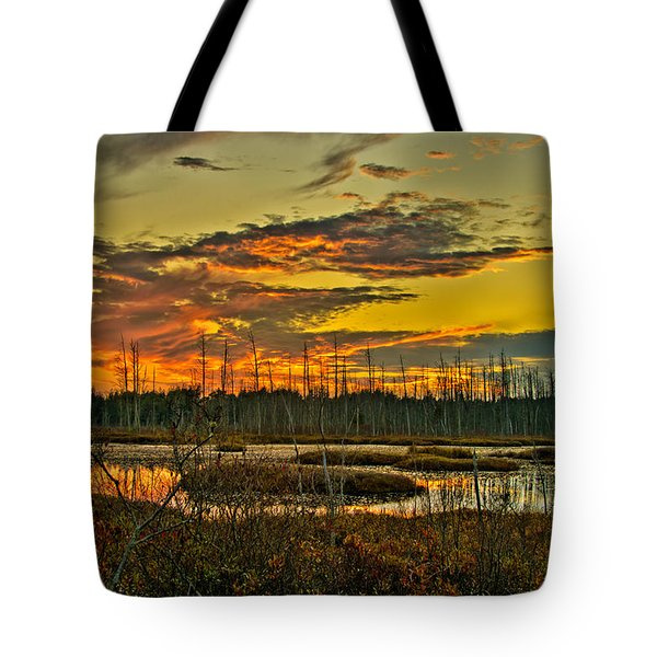 Tote Bag featuring the photograph An November Sunset In The Pines by Louis Dallara
