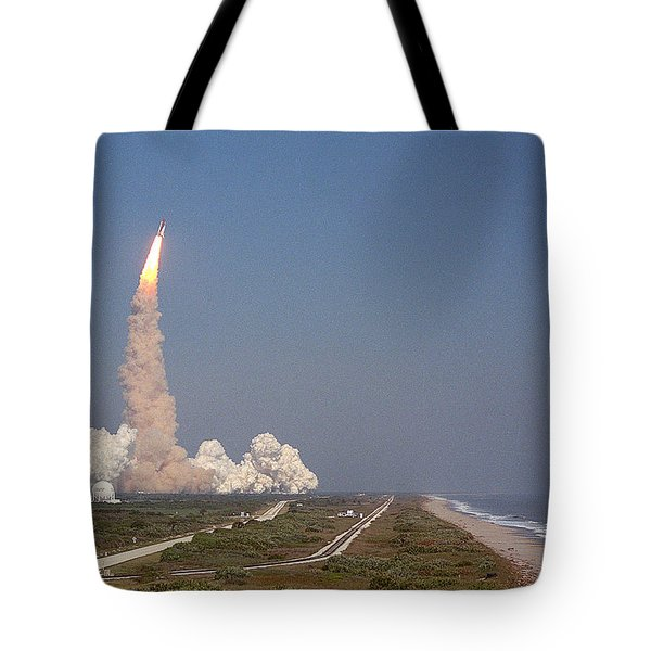 An Oceanside View Of The Sts-29 Discovery Launch From Pad 39b. Tote Bag