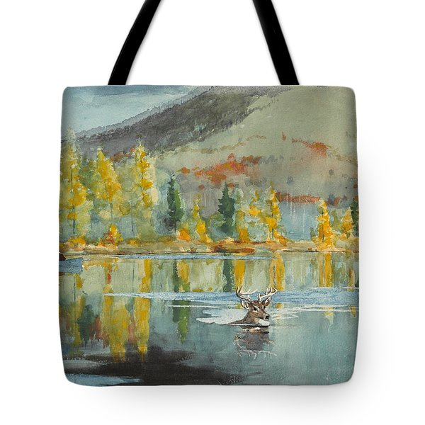 Tote Bag featuring the painting An October Day by Winslow Homer