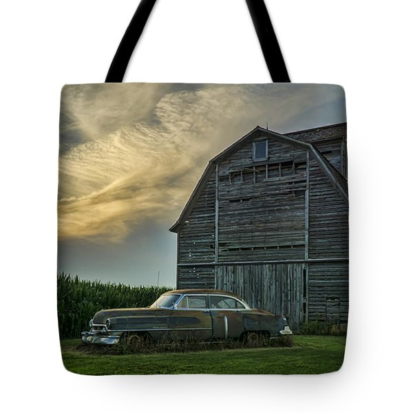 An Old Cadillac By A Barn And Cornfield Tote Bag
