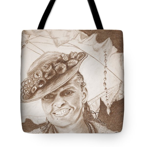 An Old Fashioned Girl In Sepia Tote Bag