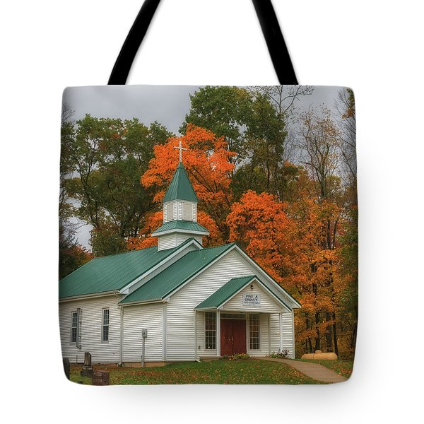 An Old Ohio Country Church In Fall Tote Bag