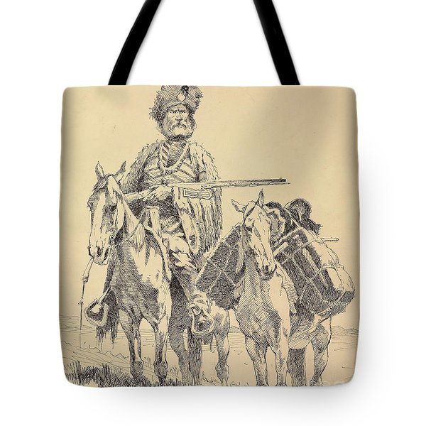 An Old Time Mountain Man With His Ponies Tote Bag