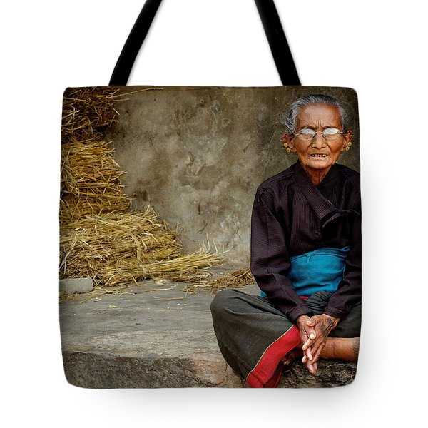 An Old Woman In Bhaktapur Tote Bag