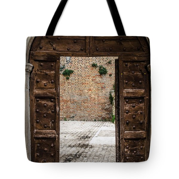 An Old Wooden Door 2 Tote Bag by Andrea Mazzocchetti