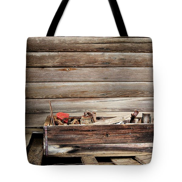 An Old Wooden Toolbox Tote Bag