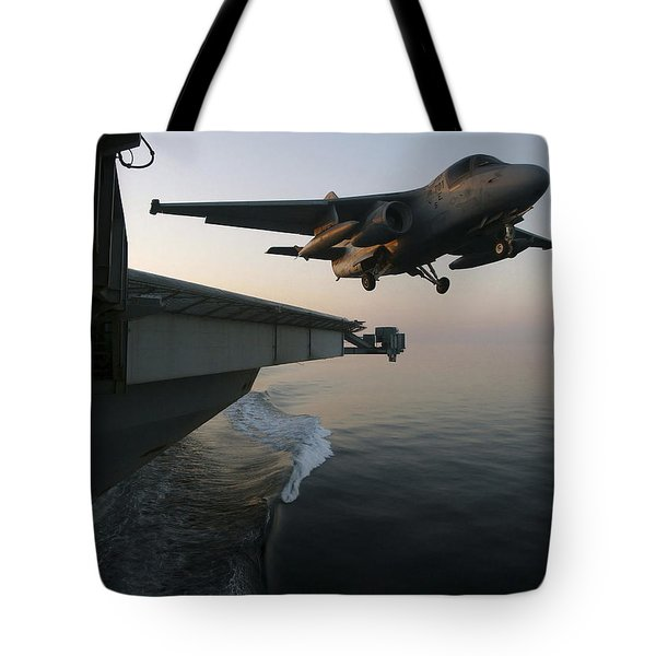 An S-3b Viking Clears The Flight Deck Tote Bag by Stocktrek Images