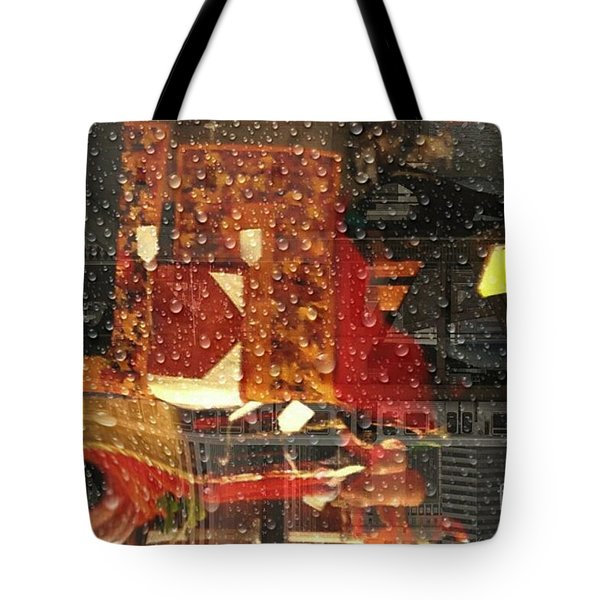 Taking The Train On A  Rainy Day  Tote Bag