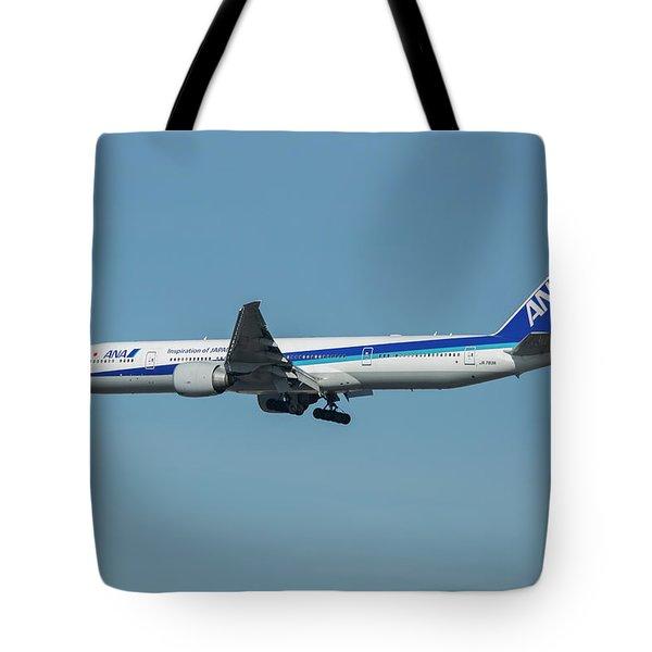 A N A Airplane J A 738 A  Boeing 777-381 Landing L A X Los Angeles International Airport Art Tote Bag