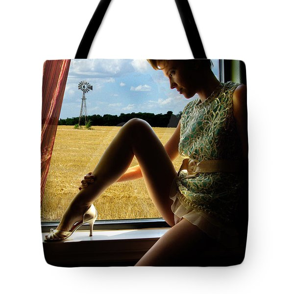 Tote Bag featuring the photograph Ana On The Train by Gregg Cestaro